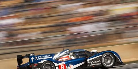 The No. 8 Peugeot 908 driven by Franck Montagny, Stephane Sarrazin and Alex Wurz held a one-minute lead after the best of the Audi R18s was handed a stop-go penalty during the American Le Mans Series season finale.