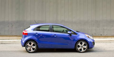 The 2012 Kia Rio SX 5-door offers adequate cargo room with 15.0 cubic feet of space.