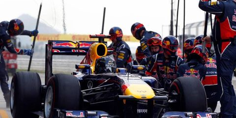 Infiniti logos will be more prominent on the Red Bull Racing Formula One cars in 2012.