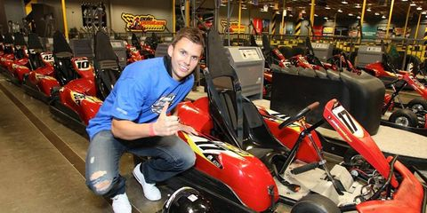 Dan Wheldon at the Graham Rahal Foundation fundraising kart race in Las Vegas.