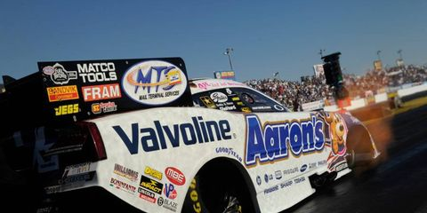 Jack Beckman now holds the points lead in the NHRA Funny Car class after his win on Sunday at Firebird International Raceway in Phoenix.