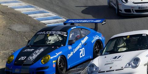 The famous corkscrew at Laguna Seca was crowded at times during the Rennsport Reunion Cup race Saturday afternoon.
