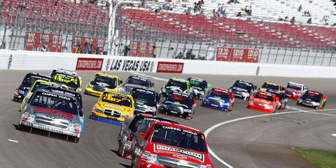 Ron Hornaday Jr. dominated Saturday's NASCAR Camping World Truck Series race in Las Vegas.