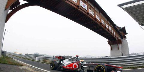 McLaren's Lewis Hamilton set the fastest lap times during Korean Grand Prix qualifying on Saturday.