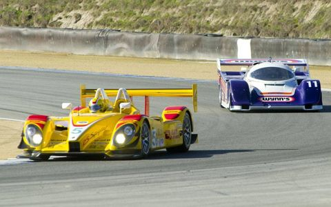 "Who would have thought the Porsche RS Spyder is a ""vintage"" racer, but here is Christian Zugel driving his 2006 RS leading a 1986 Porsche 962 driven by Jim Torres."