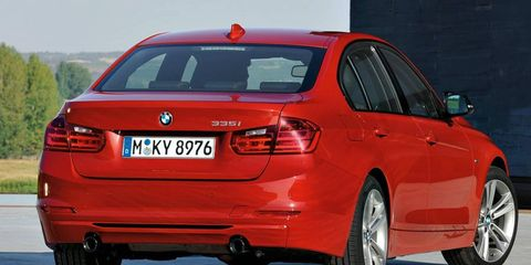 An engine stop/start system will be standard on the 2012 BMW 3-series sedan.