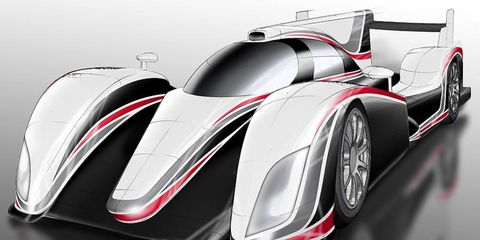 A sketch of Toyota's Le Mans race car for 2012. It will be powered by a gasoline-hybrid powertrain.