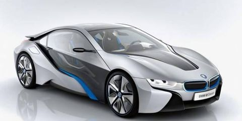 The BMW i8 hybrid sports car goes on sale in 2014.