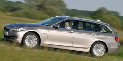 The turbocharged four-cylinder engine in the BMW 5-series wagon is rated at 240 hp.