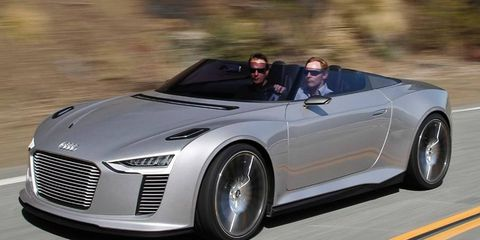 The Audi E-tron Spyder combines a diesel engine with electric motors that power the front wheels.