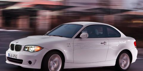 BMW says the 1-series ActiveE electric car can travel up to 100 miles on a full charge.