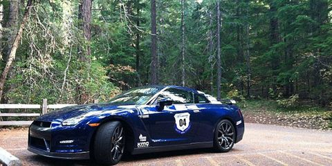 The Nissan GT-R piloted by Graham Rahal in the Autoweek America Adventure takes a break in the woods.