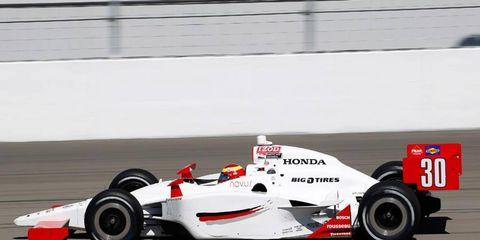 Pippa Mann's IndyCar got airborne in the 15-car crash at Las Vegas Motor Speedway.
