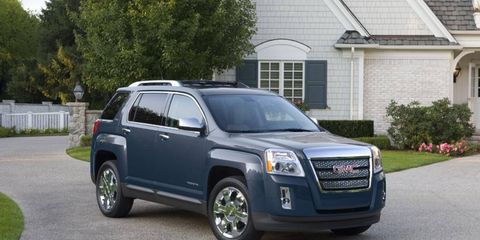 The GMC Terrain (shown) and the Chevrolet Equinox are being recalled by General Motors.