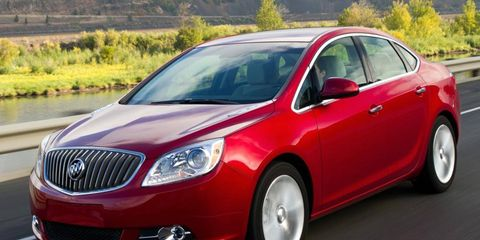 The four-cylinder engine in the 2012 Buick Verano is rated at 180 hp.