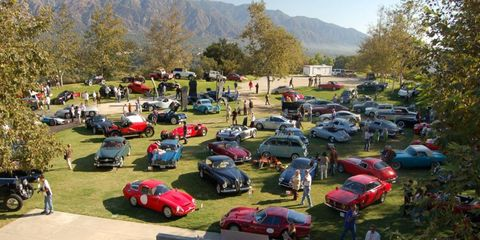 The east lawn of the Art Center College is filled with cars that showcase automotive design.