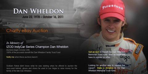 The charity auction is raising money for Dan Wheldon's family.