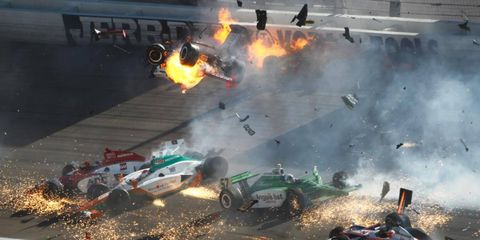 The crash at the Izod IndyCar Series race in Las Vegas involved 15 cars.
