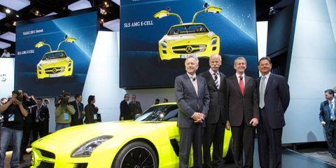 Ernst Lieb, right, stood with Mercedes-Benz executives at the Detroit auto show in January.