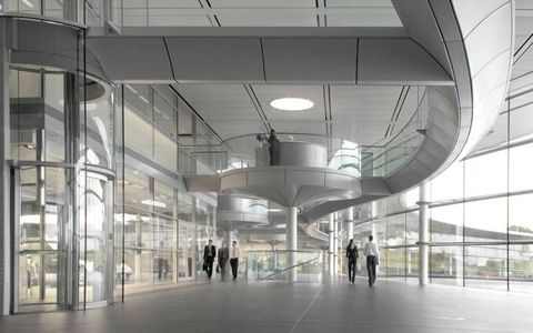 The McLaren Technical Centre front lobby.
