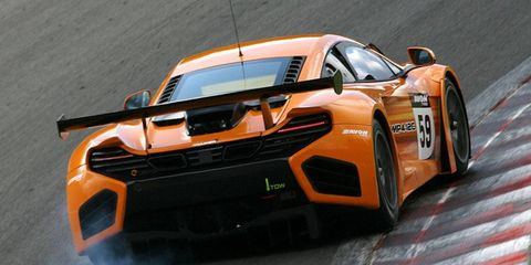 McLaren could be tempted to supply cars for the 2012 FIA GT1 World Championship, thanks to a new rules shift proposed. The MP4-12C GT3 racer is shown.