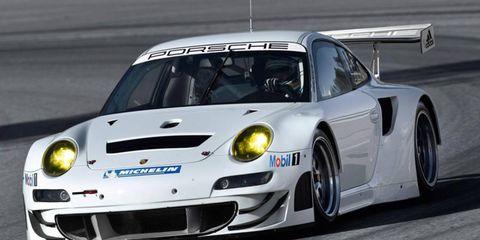 The 2012 Porsche 911 GT3 RSR race car conforms to Le Mans GTE regulations.