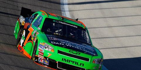 The hood of Danica Patrick's Nationwide car is painted in a tribute to IndyCar driver Dan Wheldon.