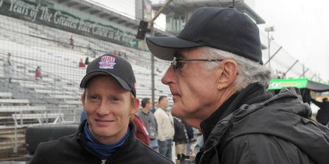 Tom Anderson, right, stands with Andretti Autosport driver Mike Conway at the Indianapolis Motor Speedway in May.