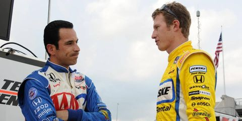 Helio Castroneves and Ryan Briscoe will return in 2012 as IndyCar drivers for Team Penske.