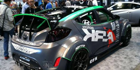The Ark Hyundai Veloster, shown at the 2011 SEMA show, sported a turbocharged engine good for 210 hp.