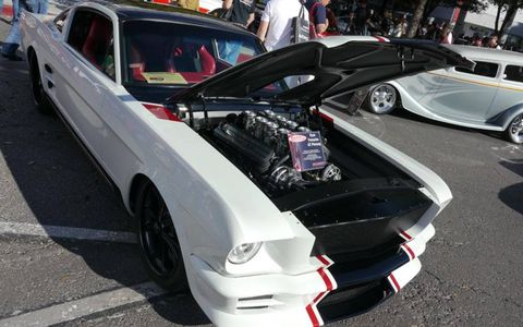 Scott's Hot Rods lowered this 1965 Mustang to four inches of ground clearance and installed a 640 rwhp 427 FE Roush motor.
