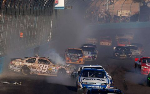 Ryan Newman (39) was involved in multi-car crash on the last lap at Phoenix.