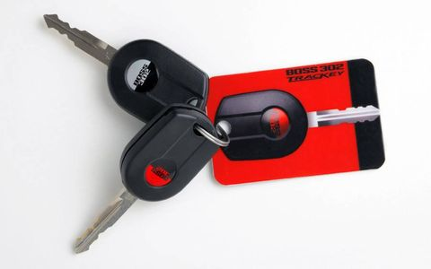 The Mustang Boss 302's track calibration is activated by using the red key. The standard black key activates the street-driving programming.