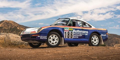 This 959 was campaigned in the 1985 Paris-Dakar Rally.