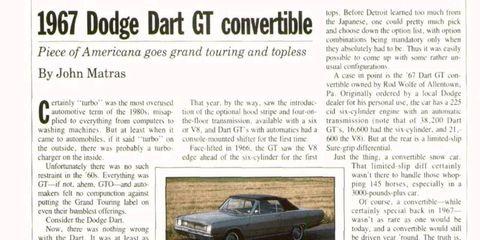 <i>Autoweek</i> archives: 1967 Dodge Dart GT convertible