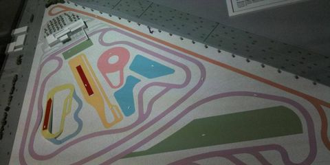 A plan of the Porsche test track in the Los Angeles area includes road courses, a skidpad and an off-road section.