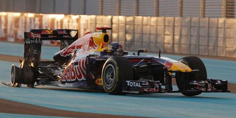 A blown tire on the first lap knocked Sebastian Vettel out of the Abu Dhabi Grand Prix.