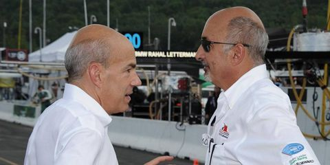 American Le Mans Series boss Scott Atherton, left, talks with team owner Bobby Rahal in this 2010 photo.