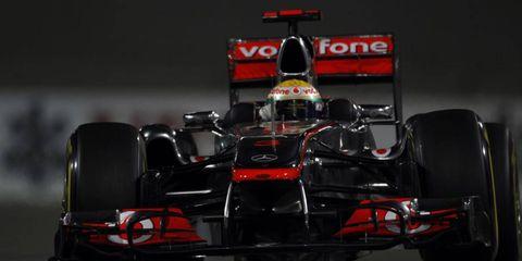Lewis Hamilton at Formula One practice on Friday in Abu Dhabi.