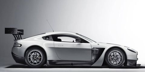 The V12 in the Vantage GT3 is rated at 600 hp.