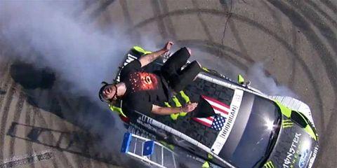 A stunt from Ken Block's video.