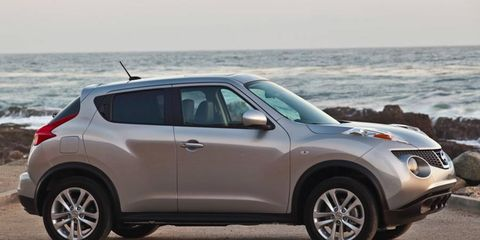 The turbocharged 1.6-liter engine in the 2011 Nissan Juke is rated at 188 hp.