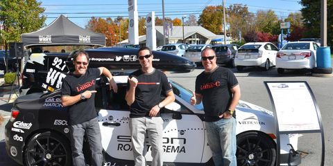 L-R: Roger Garbow, Allan Greenfied and Steve Jardine pose during the trip's launch event at Johnstons Scion in New Hampton, NY.