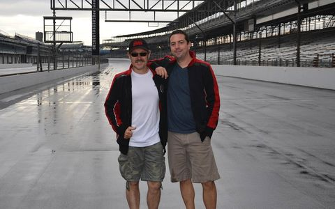 Roger (left) and Allan on the track at Indy.