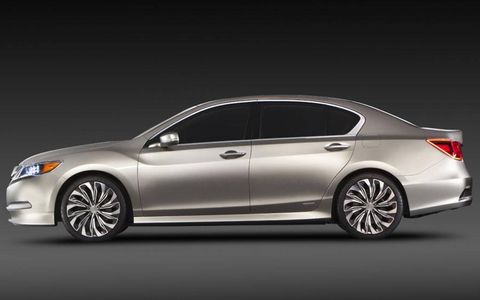 A side view of the Acura RLX luxury sedan concept.