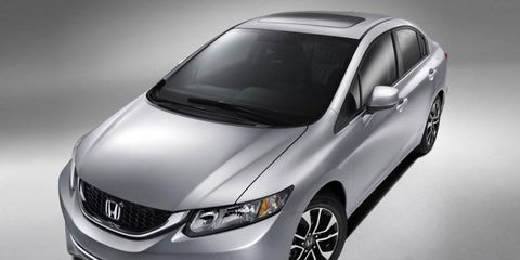 A front view of the restyled 2013 Honda Civic.