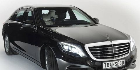 The 2014 S-class by Transeco-Bremen GmbH features the highest level of armoring for passenger vehicles, the CEN standard equivalent of B6/B7.
