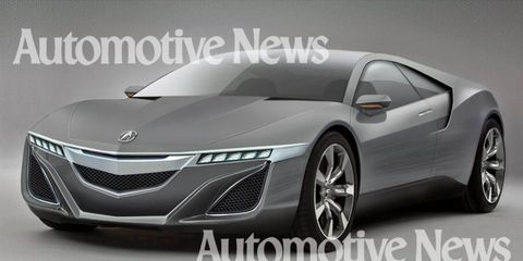 The Acura NSX supercar could be back in three years. A concept version of the Ferrari fighter will debut in Detroit next month with a compact V6 engine and a lithium-ion hybrid system. Journalists were given a glimpse of the car, which provided details for this artist's rendering.