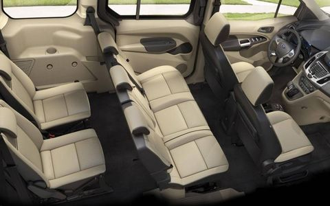Five and seven-passenger seating configurations will be offered for the 2014 Ford Transit Connect Wagon. Fold-flat seats will provide room for hauling cargo.