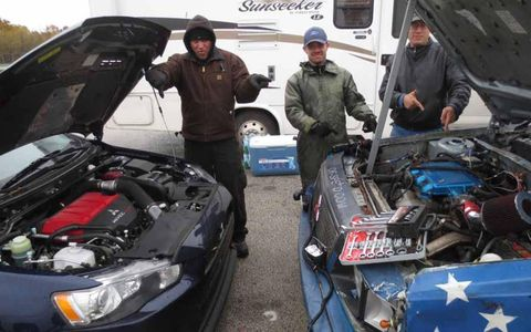 Members of the Mitsubishi 3.0 V6-powered Majicbus Plymouth Reliant-K prefer their engine to that of the Evo.